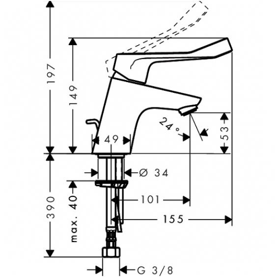 hansgrohe mai ytuvas praustuvui su ventiliu focus 70 care. Black Bedroom Furniture Sets. Home Design Ideas