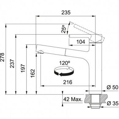 Franke maišytuvas plautuvei su ištraukiama žarna CENTRO 2