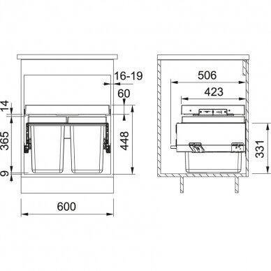 Franke šiukšlių rūšiavimo sistema FX 60 26-26 2