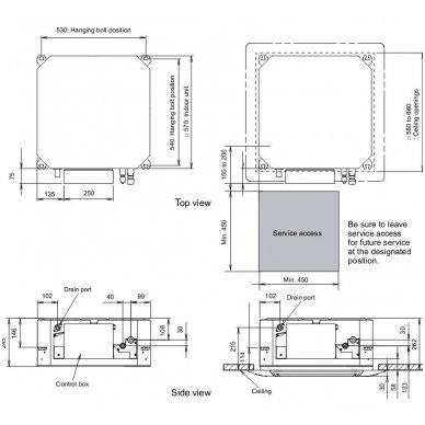 Fujitsu kasetino kondicionieriaus vidinė dalis AUYG09LVLA 2