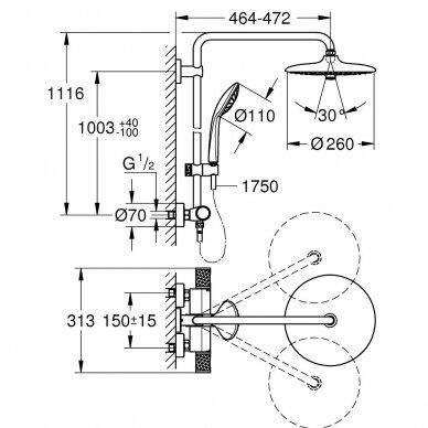 Grohe dušo komplektas su termostatiniu maišytuvu Euphoria System 260 2