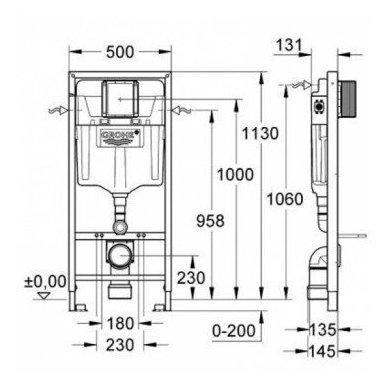 Grohe potinkinis rėmas WC puodui Rapid SL 3in1 38772001 4