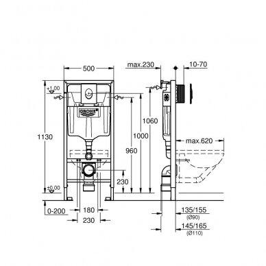 Grohe potinkinis rėmas WC puodui Rapid SL 3-IN-1 2