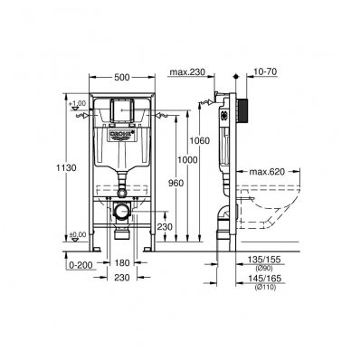 Grohe potinkinis rėmas WC puodui su tvirtinimais Rapid SL 2in1 38536001 3