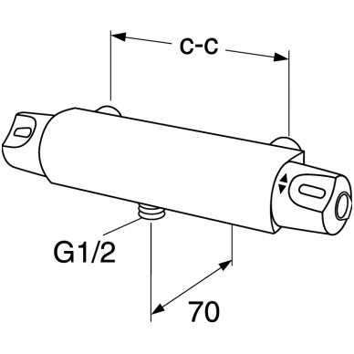 Gustavsberg termostatinis maišytuvas dušui Nautic GB41215304 2