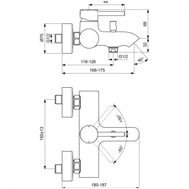 Ideal Standard maišytuvas voniai Ceraline 2