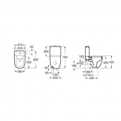 Roca pastatomas WC su dangčiu Meridian Compact Rimless 2