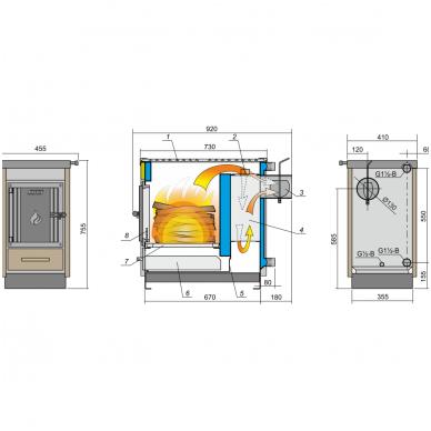 Kalvis centrinio šildymo katilas-viryklė K-4CN 2