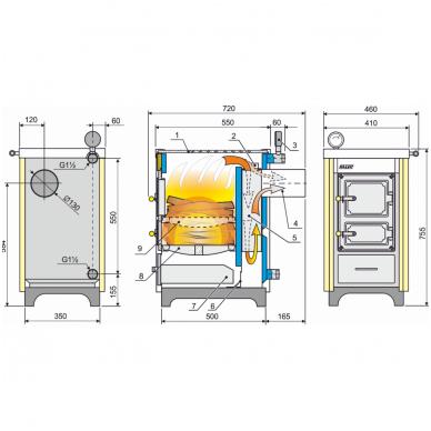 Kalvis centrinio šildymo katilas-viryklė K-4CMN 2