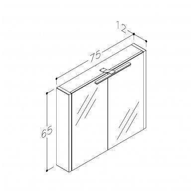 Raguvos baldai veidrodinė spintelė su šviestuvu Gerda 75 3