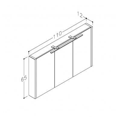 Raguvos baldai veidrodinė spintelė su šviestuvu Gerda 110 3