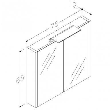 Raguvos baldai veidrodinė spintelė su šviestuvu Wave 75 3