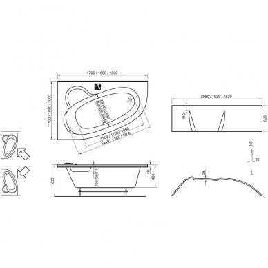 Ravak asimetrinė vonia Asymmetric 1700x1100 2