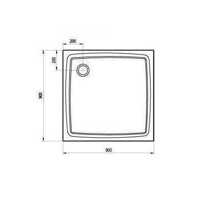 Ravak kvadratinis dušo padėklas Perseus Pro Flat 900x900 2