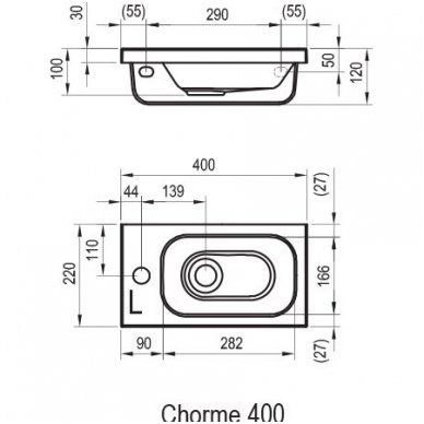 Ravak praustuvas 400x220 Chrome XJGL1100000/XJGP1100000 2