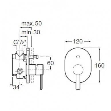 Roca potinkinis maišytuvas voniai/dušui Targa  2