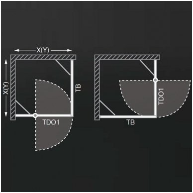 Roltechnik kvadratinė dušo kabina TDO1+TB 800x800 2