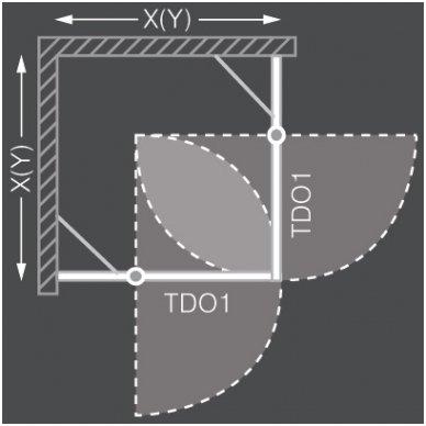 Roth kvadratinė dušo kabina TDO1+TDO1 900x900 2