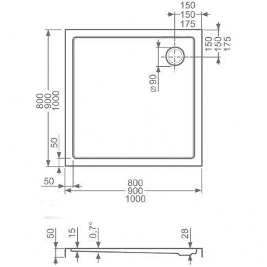 Roltechnik kvadratinis dušo padėklas Flat Kvadro 900x900 2