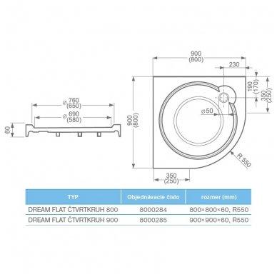 SaniPro pusapvalis dušo padėklas Dream Flat 800x800 8000284 2