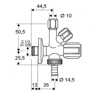 """Schell kombinuotas ventilis 1/2"""" x Ø10 x Ø14,5 2"""