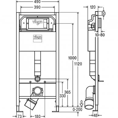 Viega WC potinkinis rėmas Prevista Dry 3in1 3