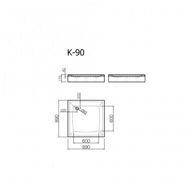Vispool kvadratinis dušo padėklas K-90 2