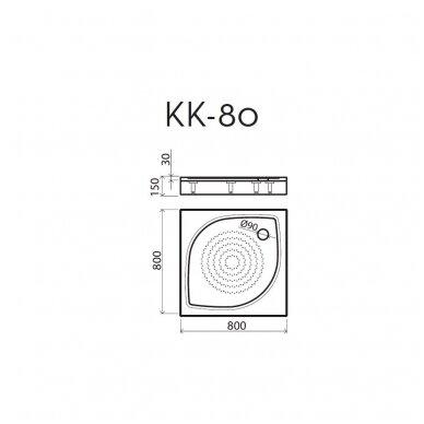 Vispool kvadratinis dušo padėklas KK-80 2