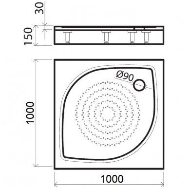 Vispool kvadratinis dušo padėklas KK-100 3