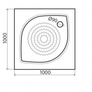 Vispool kvadratinis dušo padėklas KZ-100 2