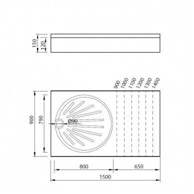 Vispool stačiakampis dušo padėklas OZ-150 2